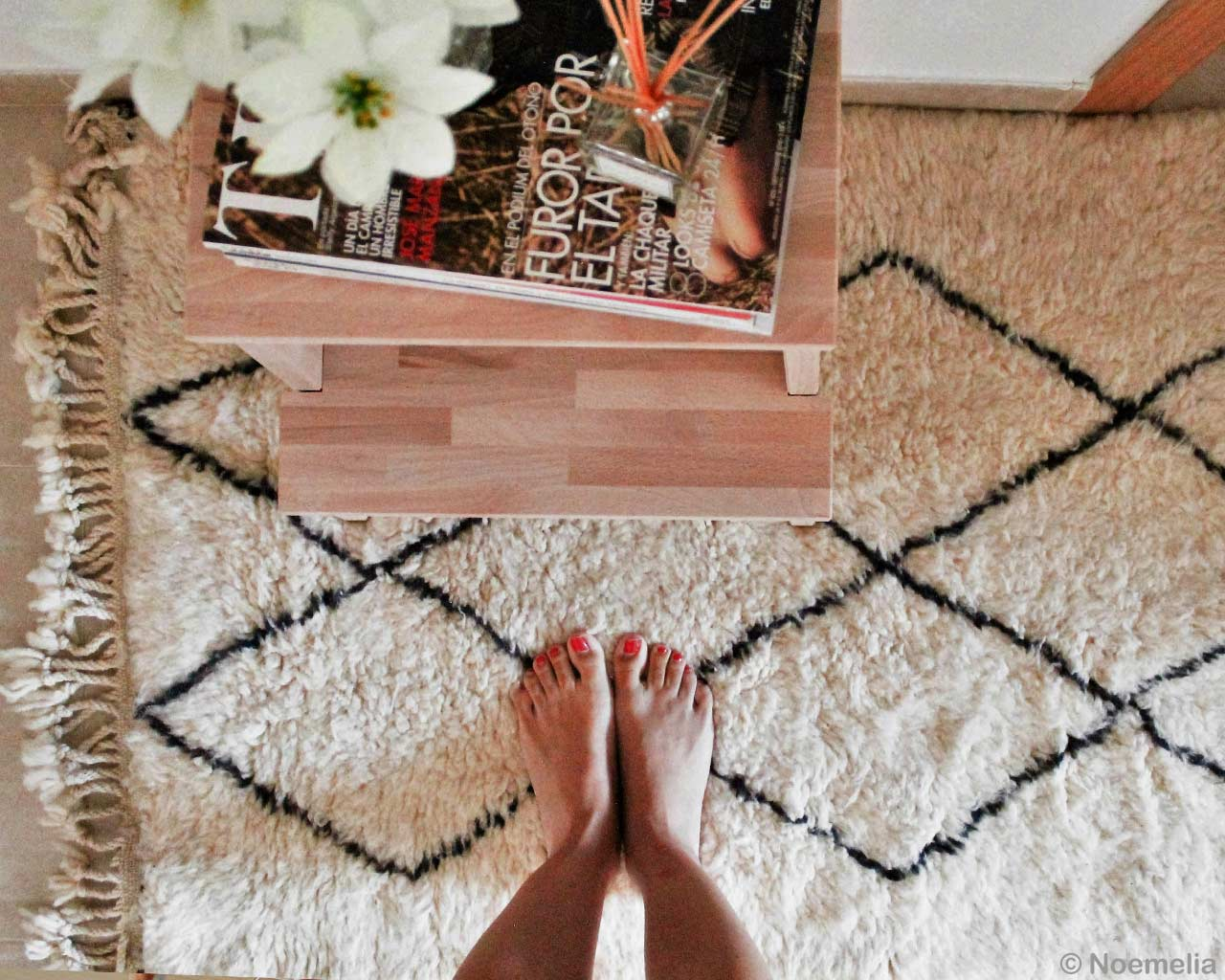 Naked Feet Moroccan Carpets Handmade Magazine Wooden Table 2