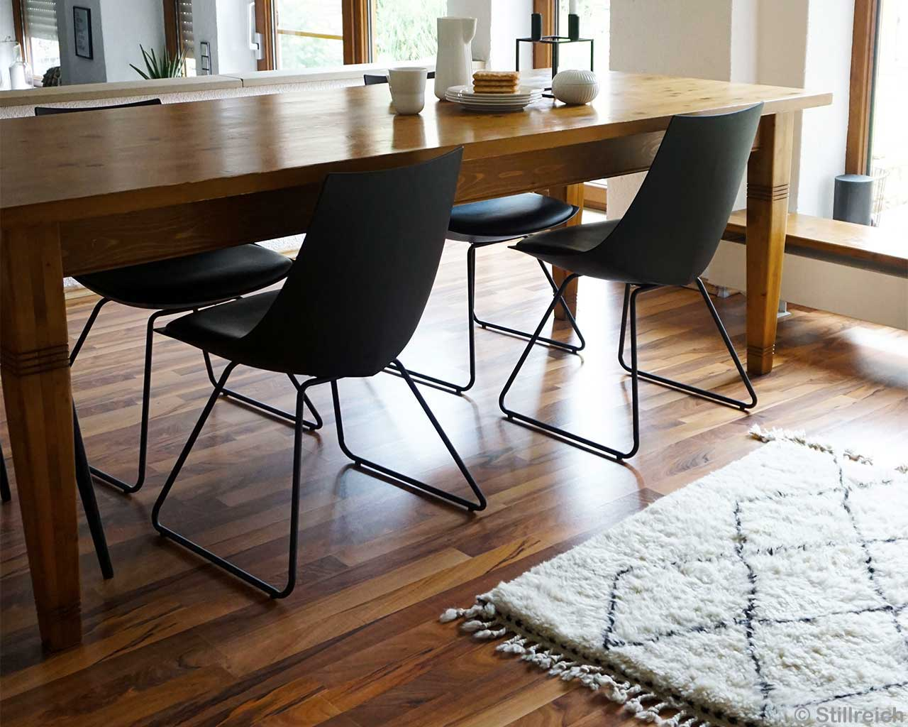 Oak Table Black Designer Chairs Parquet Beni Ourain 2
