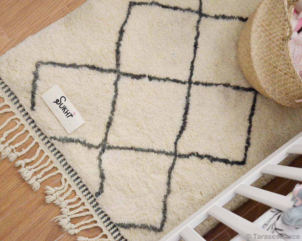 contemporary cream color beni ourain with black patterns geometric rug