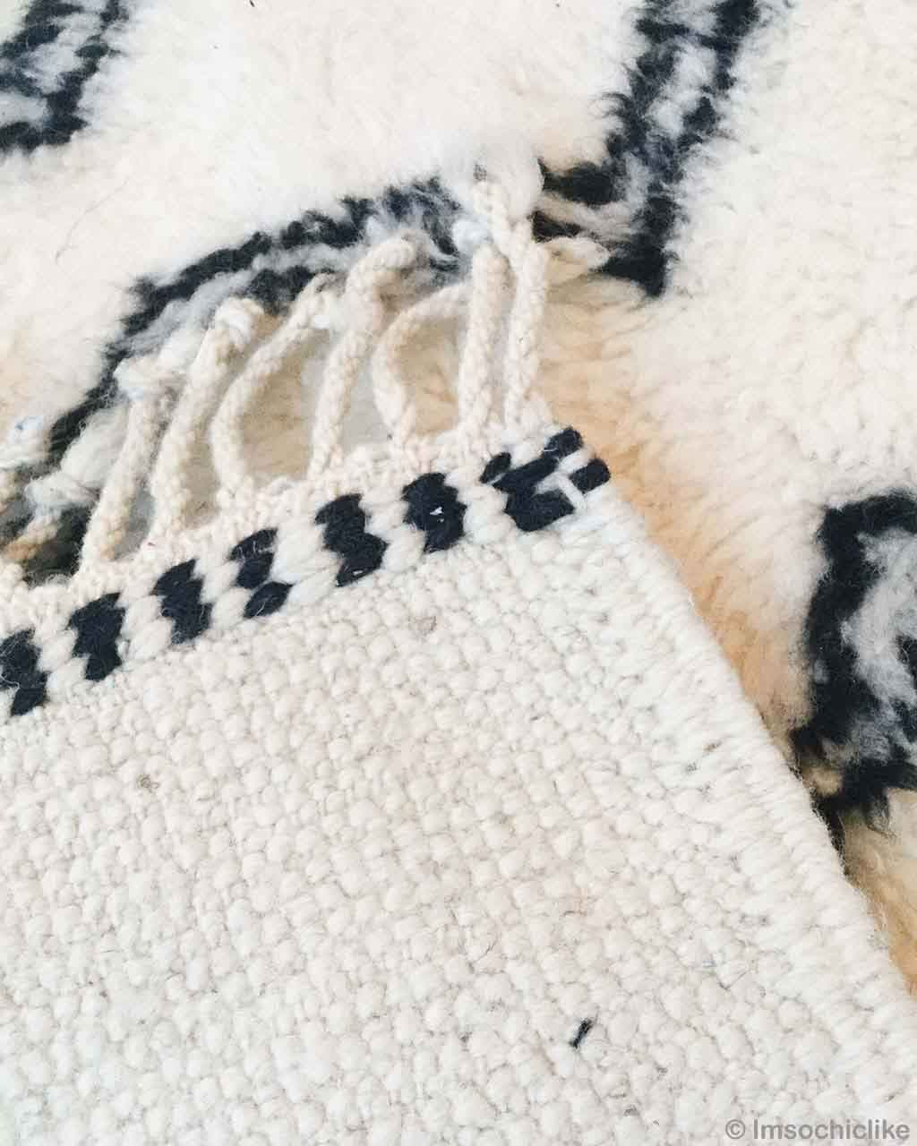 hand knotted asian beni ourain in white with black patterns bedroom rugs