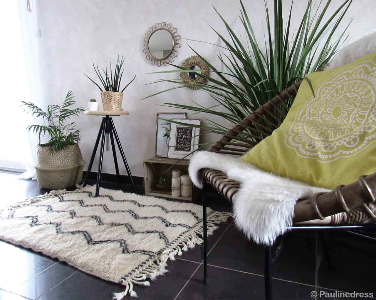 hand made assorted pots and chair made by moroccan rugs