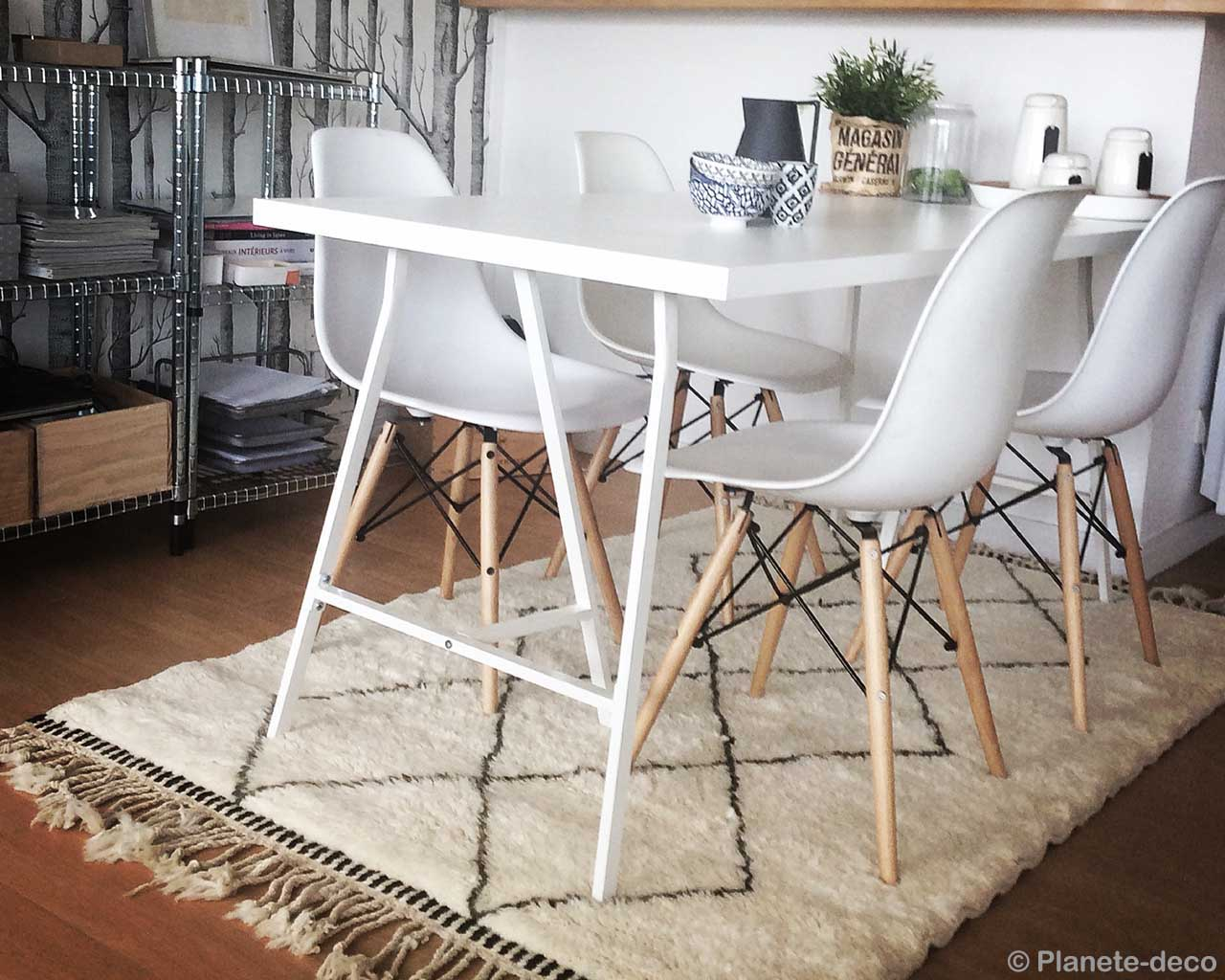 handmade dinning table with white chairs from morocco modern rectangular rug