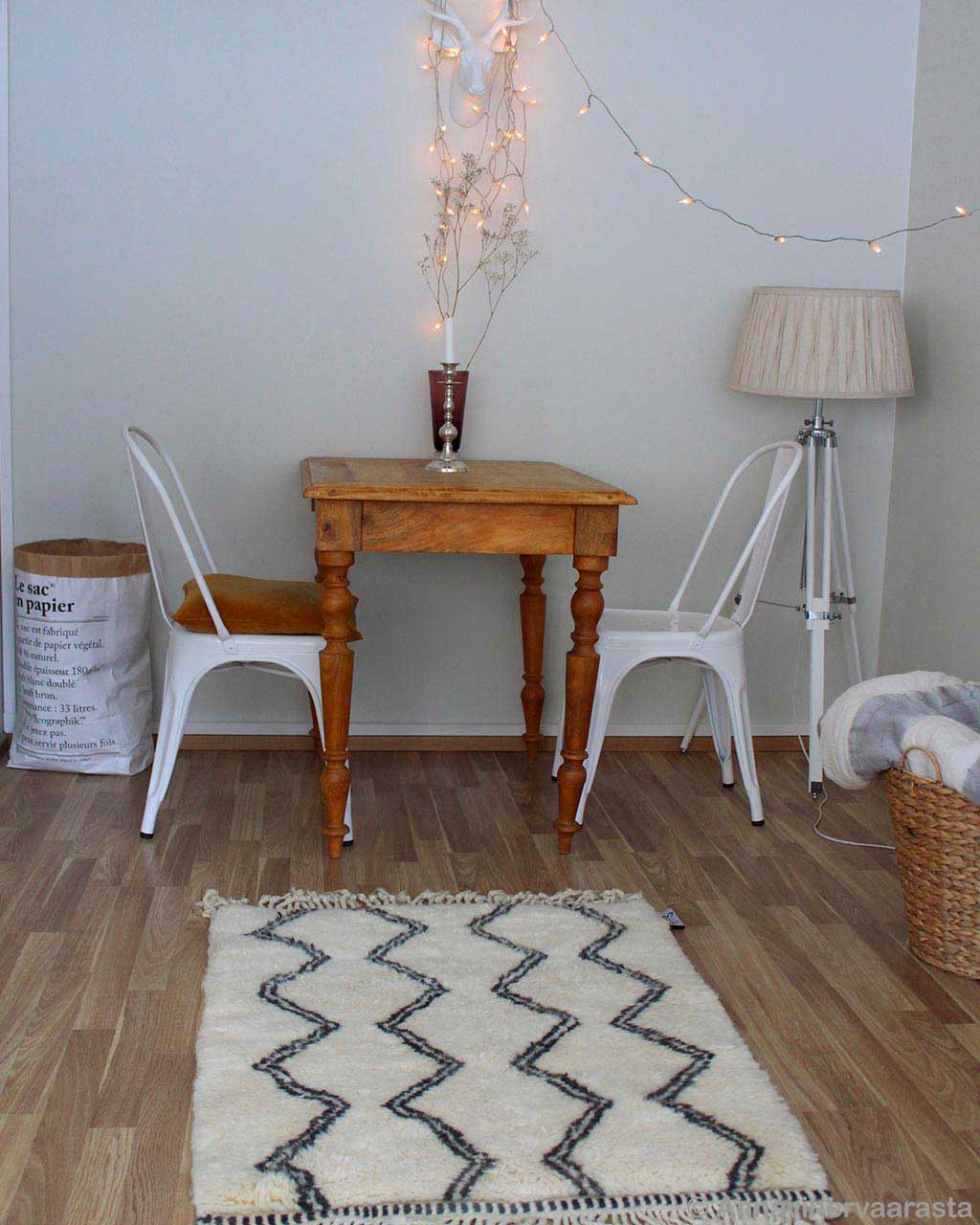 white chairs with brown table african modern striped rug