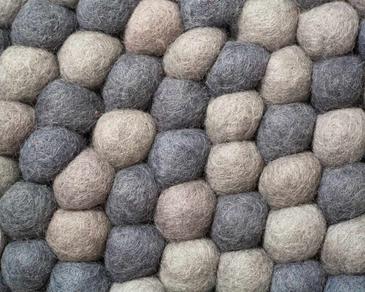 grey dark light felt balls wool