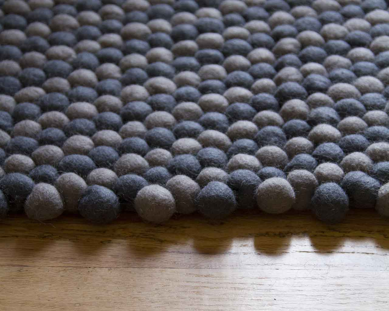 grey felt ball rug rectangle