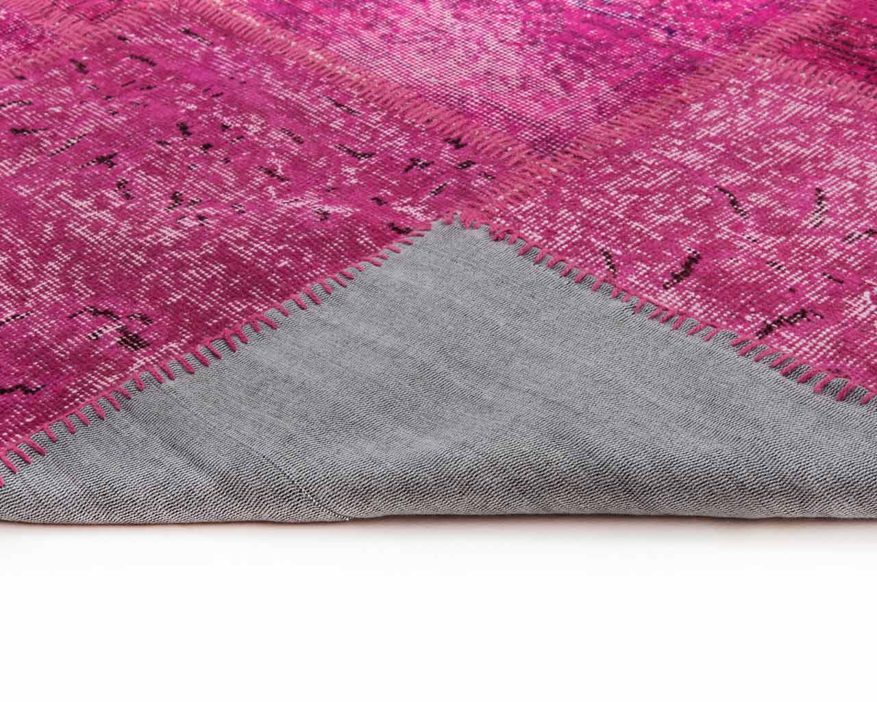 overdyed patchwork turkish carpet fuchsia