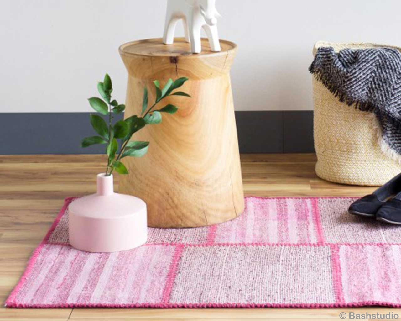 white pink vintage carpet overdyed plant brown wooden stool