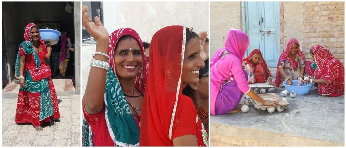 happy-women-artisans-in-India-making-Sukhi-rugs