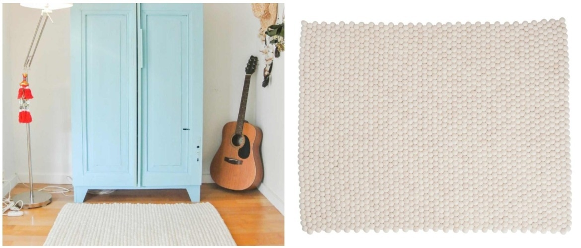 rectangle-felt-ball-rug-in-bedroom-with-guitar